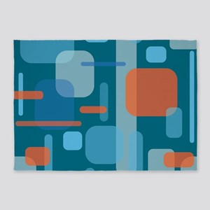 Blues and Coral from the Mid Centur 5'x7'Area Rug