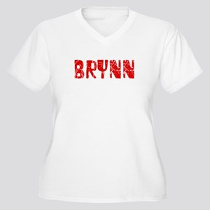 Brynn Faded (Red) Women's Plus Size V-Neck T-Shirt