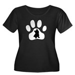 Westie Paw Women's Plus Size Scoop Neck Dark T-Shi