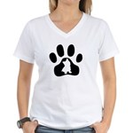 Westie Paw Women's V-Neck T-Shirt