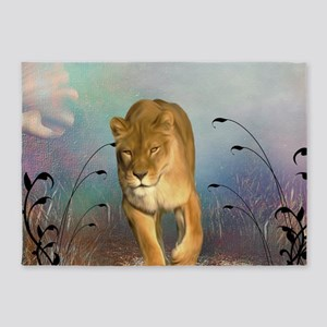 Awesome lioness in a fantasy world 5'x7'Area Rug