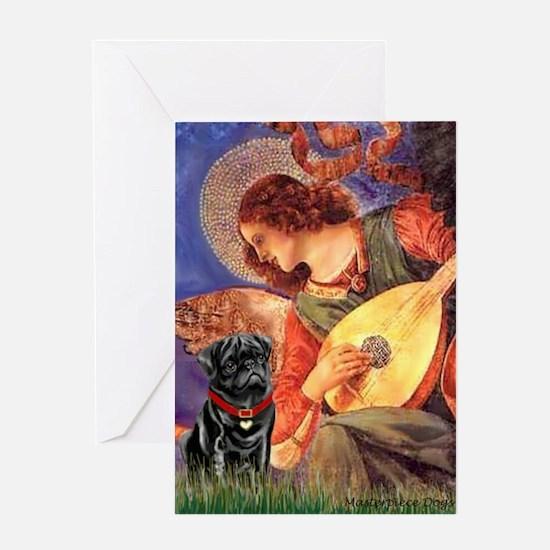 Mandolin Angel / Pug (blk) Greeting Card