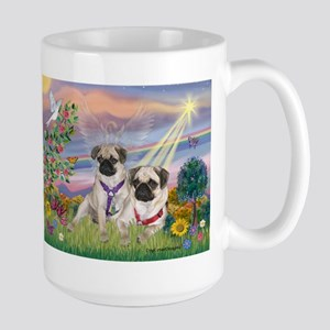 Cloud Angel - 2 Pugs Large Mug