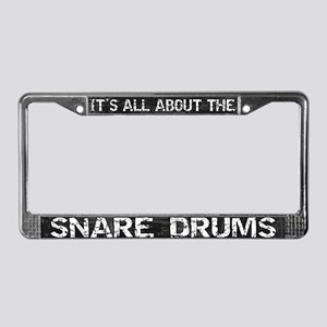 All About Snare Drum License Plate Frame Grey
