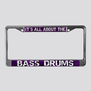 All About Bass Drum License Plate Frame Purple