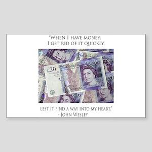 How John Wesley handled money Rectangle Sticker