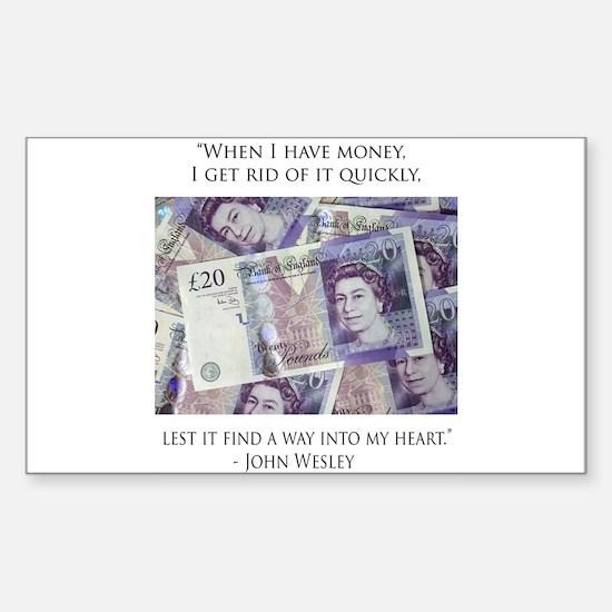 How John Wesley handled money Rectangle Decal