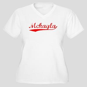 Vintage Mckayla (Red) Women's Plus Size V-Neck T-S