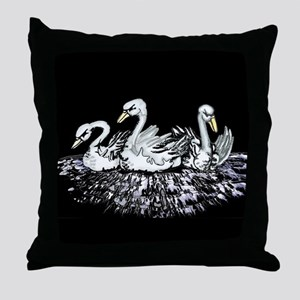 Swans on the Icy Lake Throw Pillow