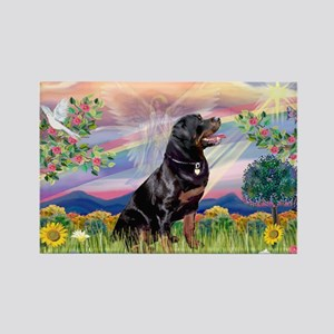Cloud Angel with Rottweiler Rectangle Magnet