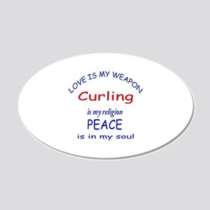 Curling is my Religion 20x12 Oval Wall Decal