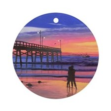 Dusk at the Pier Round Ornament