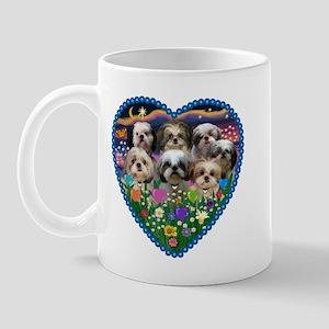 Shih Tzus in Heart Garden Mug