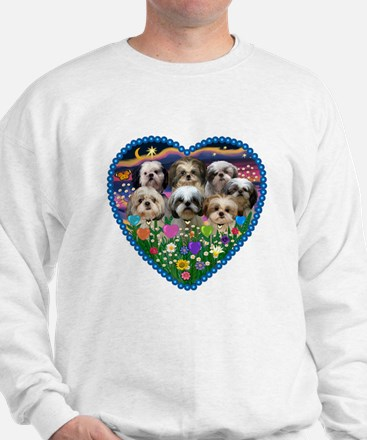 Shih Tzus in Heart Garden Sweatshirt