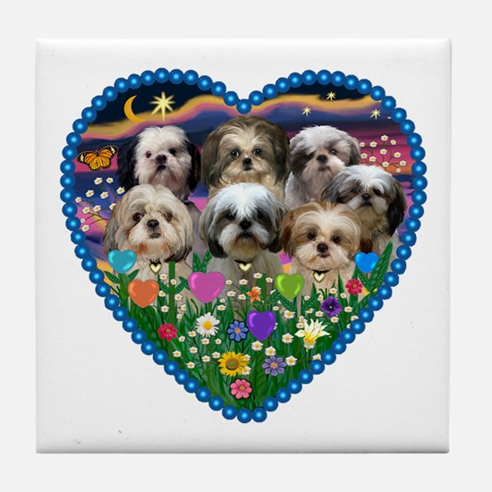 Shih Tzus in Heart Garden Tile Coaster