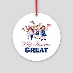 Kids Keep America Great Round Ornament