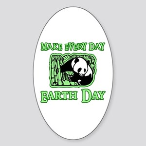 Earth Day Panda Oval Sticker