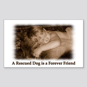 Rescued Dog Rectangle Sticker 10 pk)