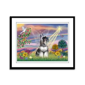 Cloud Angel & Schnauzer Framed Panel Print