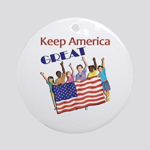 Adults Keep America Great Round Ornament