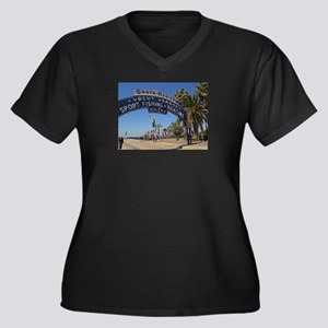 Santa Monica Pier Women's Plus Size V-Neck Dark T-