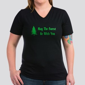 May The Forest Be With Women's V-Neck Dark T-Shirt