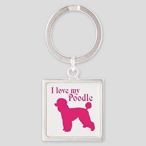 I Love my Dog Square Keychain