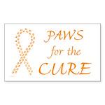 Orange Paws4Cure Rectangle Sticker 10 pk)