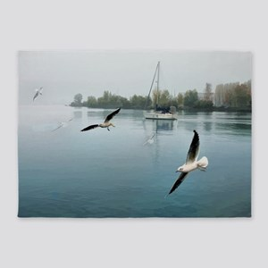 Morning Fog and Seagulls Leaving th 5'x7'Area Rug