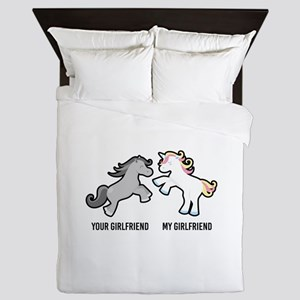 Your Girlfriend My Girlfriend Unicorn Queen Duvet