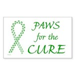 Green Paws4Cure Rectangle Sticker 10 pk)