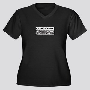 Skid Marks Women's Plus Size V-Neck Dark T-Shirt
