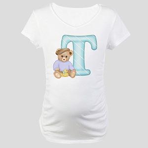 Teddy Alphabet T Teal Maternity T-Shirt