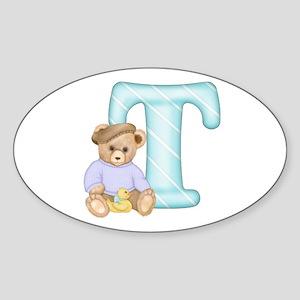 Teddy Alphabet T Teal Oval Sticker