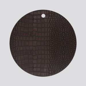 Gator Brown Leather Round Ornament