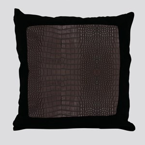 Gator Brown Leather Throw Pillow