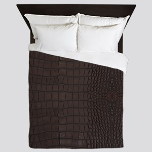 Gator Brown Leather Queen Duvet