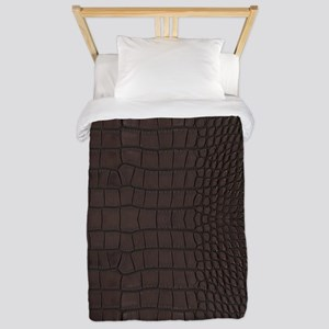 Gator Brown Leather Twin Duvet Cover
