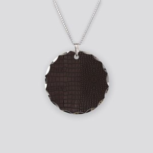 Gator Brown Leather Necklace