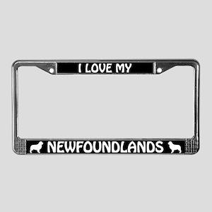 I Love My Newfoundlands (PLURAL) License Frame