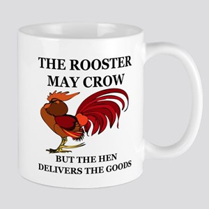 THE ROOSTER MAY CROW...BUT THE HEN DELI Large Mugs