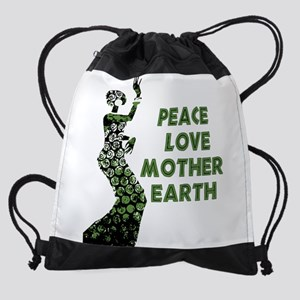 Peace Love Mother Earth Drawstring Bag