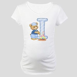 Teddy Alphabet I Blue Maternity T-Shirt