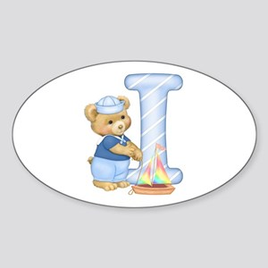 Teddy Alphabet I Blue Oval Sticker