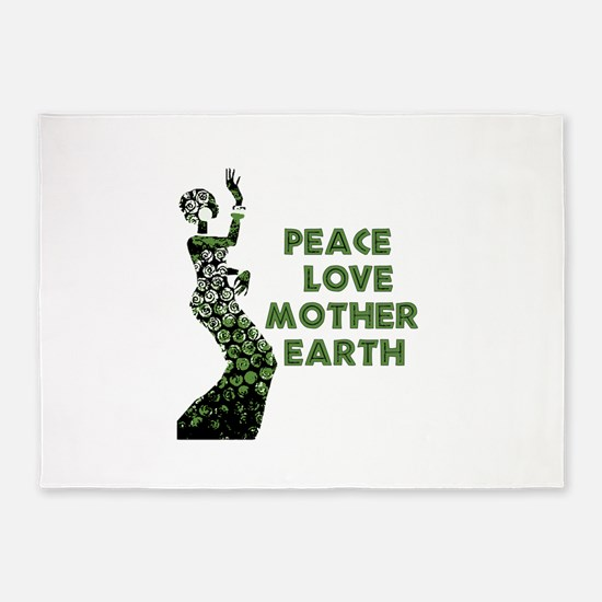 Peace Love Mother Earth 5'x7'Area Rug