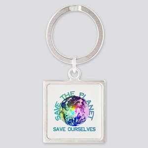 Rainbow Planet Square Keychain