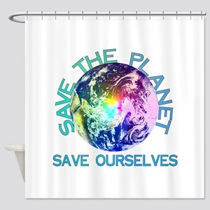 Rainbow Planet Shower Curtain