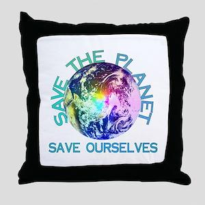 Rainbow Planet Throw Pillow