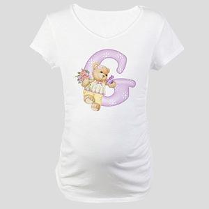 Teddy Alphabet G Purple Maternity T-Shirt
