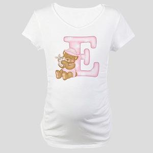 Teddy Alphabet E Pink Maternity T-Shirt